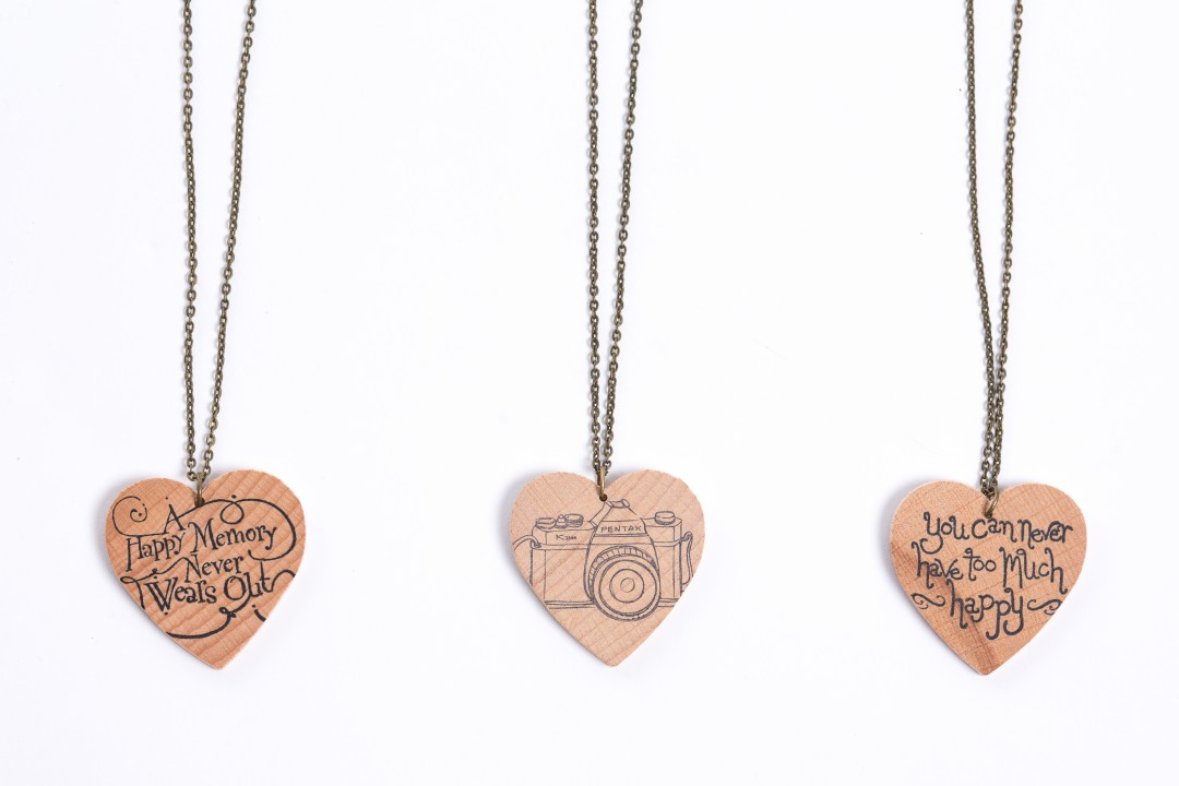 Hand stamped wooden necklaces for Etsy | product shots by Carla Watkins Business & Branding Photography | carlawatkins.com