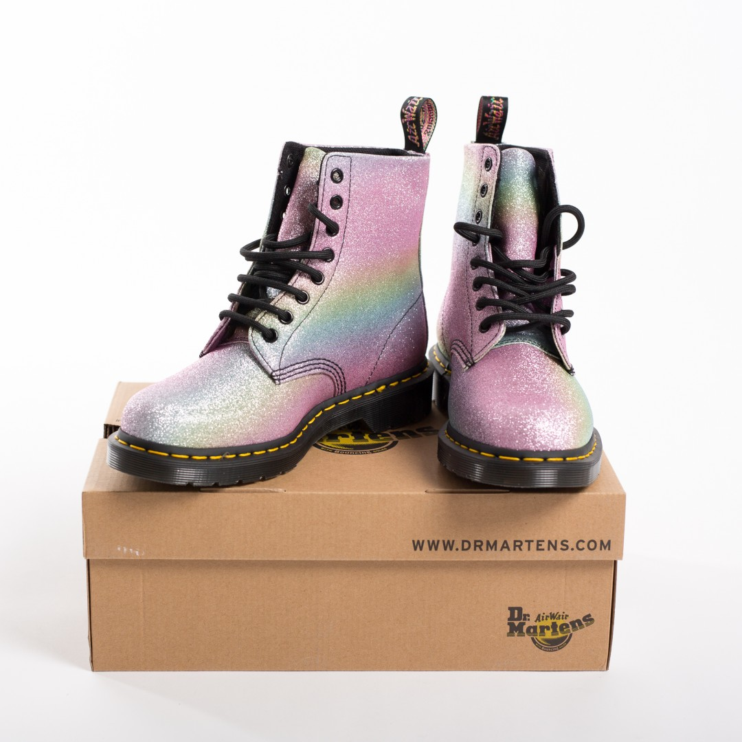 Rainbow glitter Dr Martens Pascale boots | product shots by Carla Watkins Business & Branding Photography | carlawatkins.com