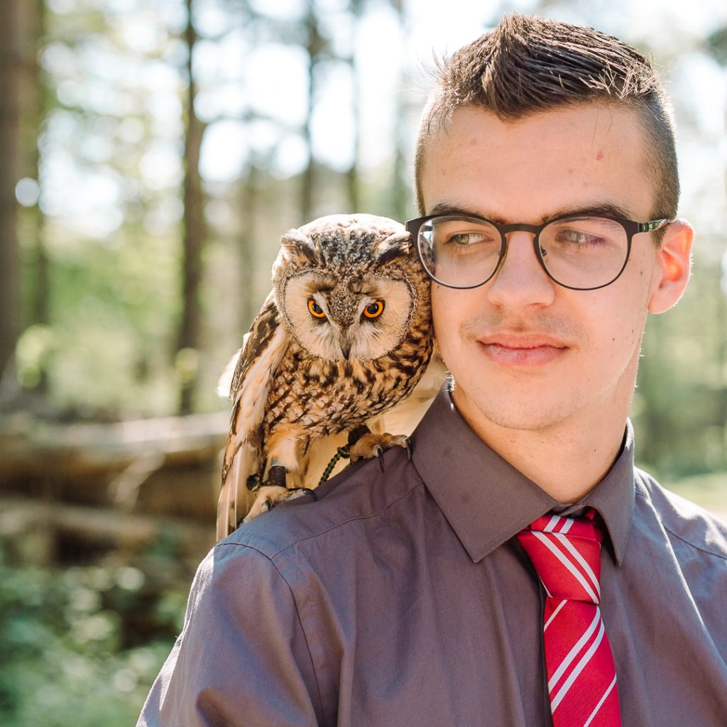 Falconry lessons with Bramble the owl - wizard school perfection