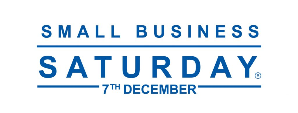 small business saturday logo blue text on white background